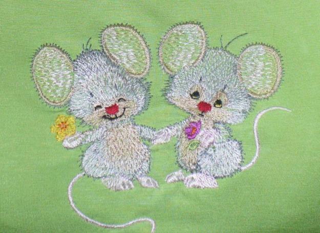 Машинная вышивка - мышки