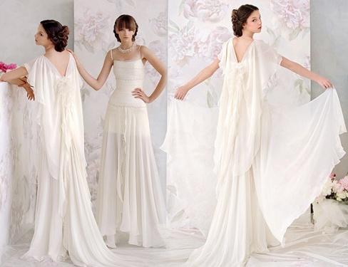 Свадебное платье в греческом стиле поможет скрасить некоторые недостатки фигуры или округлившийся животик невесты, которая в скором времени станет мамой