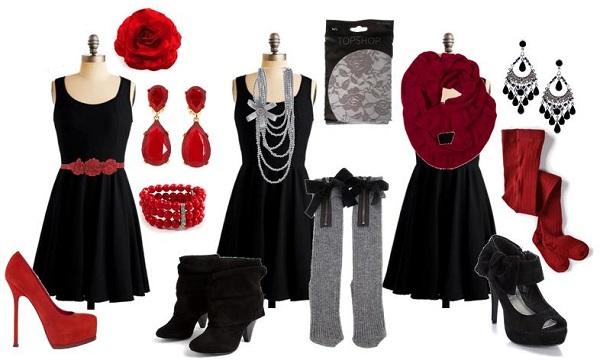 Красная бижутерия к черному платью фото